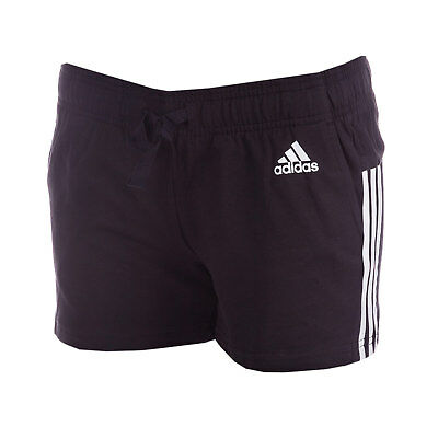 Womens adidas Womens Essentials 3-Stripes Shorts in Black-White - 24-26