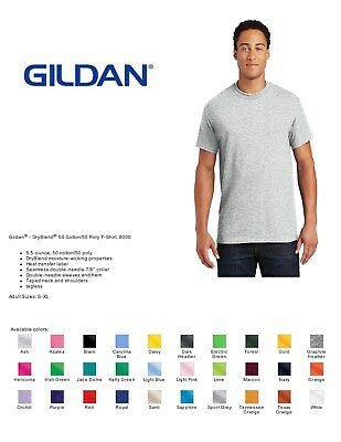 10 Gildan Dry Blend 50/50 T-Shirts Blank Bulk Wholesale Lot Colors White S XL