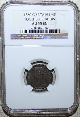 1860 Great Britain 1/4 Pence Farthing Coin NGC AU55 Bn  Toothed Border