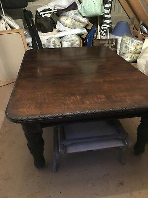 Huge Vintage Victorian Carved Mahogany oak extending Dining Table On Casters