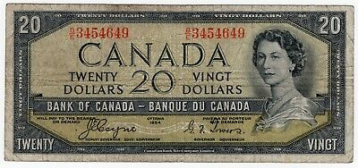1954 Bank Of Canada Twenty 20 Dollar Devils Face Bank Note Be 3454649 Nice Bill