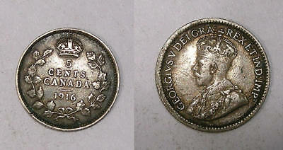 1916 Canada Sterling Silver 5 Cents Vf/xf Sound Inv#325-33