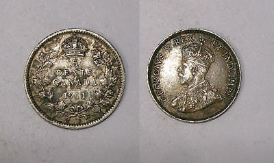 1911 Canada Sterling Silver 5 Cents Problem Free Xf, Nice! Inv#325-28