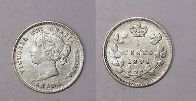 1891 Canada Sterling Silver 5 Cents Xf Inv#325-16