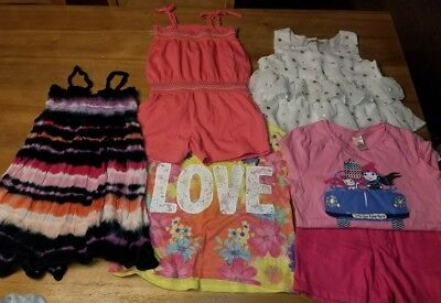 Lot Girls Size 8 Youth Clothes Shirt Shorts Romper 6 Piece Gap Gymboree Justice