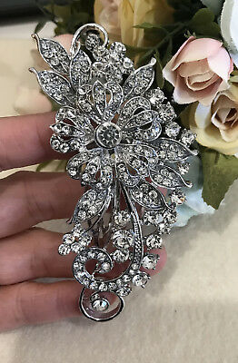 silver tone hair comb bridal wedding crystal rhinestone hair accessories #14
