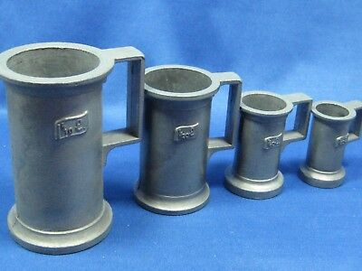 Set4 Antique German Solid Pewter Engraved Measuring Cups 1/10L,1/20L,1/40L,1/80L