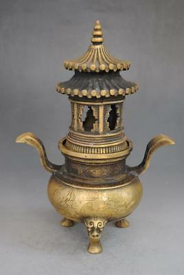 chinese old pure copper hand engraving pagoda incense burner /xuande mark
