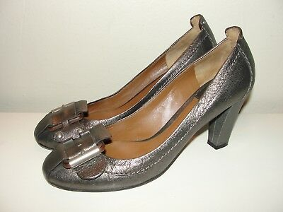Chloe *lovely!! Bronze Pewter Leather Buckle Front Pumps Heels Shoes*39 8