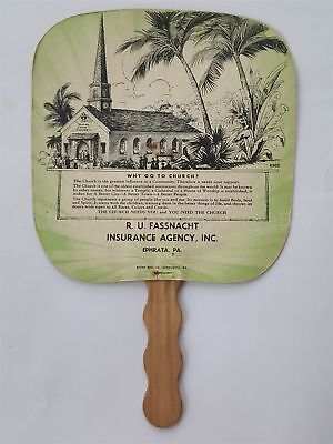 antique HAND FAN ephrata pa R.U. FASSNACHT IN SURANCE AGENCY church art