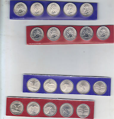 2007 P & D State Quarter 10 Coins from US Mint Set BU Statehood Cello 25c Coin