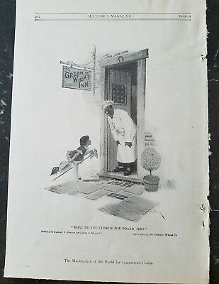 1915 cream of wheat cereal inn Rastus little girl hobbyhorse vintage food ad