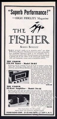 1953 Fisher stereo 70-RT tuner 70-AZ amp amplifier photo vintage print ad