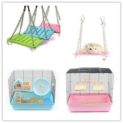 Pet Hamster Toys Swing Funny Hanging Gadget Wooden Bird Cage Accessories