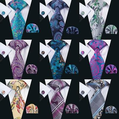 USA Mens Tie Classic Silk Black Blue Purple Necktie Set Paisley Floral Tie Hanky