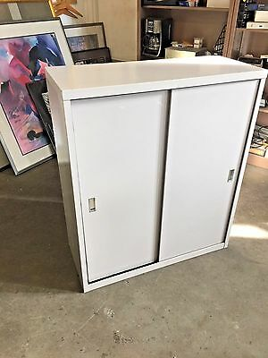"""36""""Wx15""""Wx42""""H METAL BOOKCASE w/SLIDING DOORS by STEELCASE OFFICE FURNITURE GRAY"""