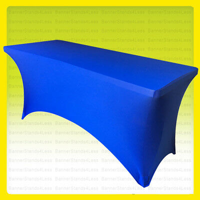 SPANDEX 6' Fitted Tablecloth Wedding Banquet Stretch Table Cover - ROYAL BLUE