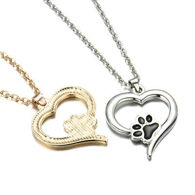 Charm Cute Pet Lover Dog Cat Paw Print Pendant Love Heart Necklace Chain Jewelry