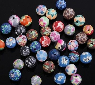 40pcs Mixed Polymer Clay Fimo Flowers Round Loose Spacer Beads 8mm Jewelry DIY