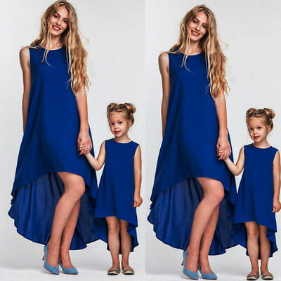 99571f35c8a1 Blue Family Clothes Lady Mother Daughter Matching Summer Girl tutu Dress  Outfits