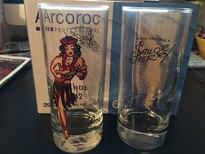 LOT DE 6 VERRES SAILOR JERRY HULA LONG DRING PIN UP  / neuf