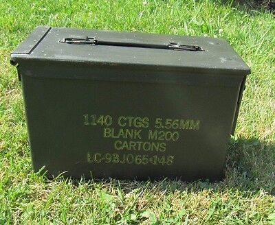 Ammo Can Box US Army Military M2A1 5.56mm M200 Ammunition Metal Storage (A018)