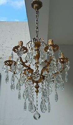 Antique 6 arms 6 lights Cast Brass & Crystals Chandelier from 1950's
