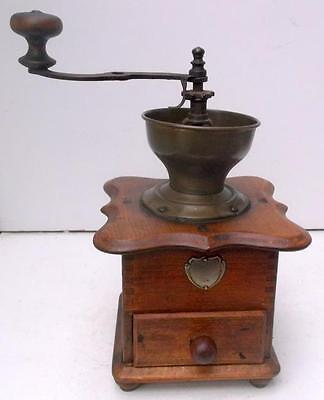 Superb Vintage French Wood and Brass Coffee Grinder Mill