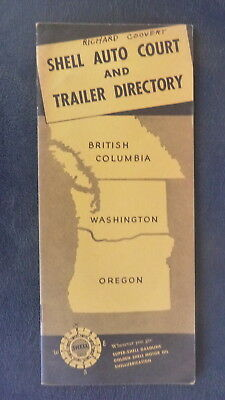 1939 Washington British Columbia OR Auto Court Trailer Directory n/map Shell oil