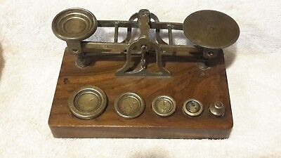 S. Mordan & Co. London Antique English Brass Balance Scale with weights - AS IS