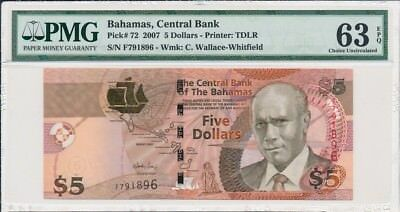 Central Bank Bahamas  $5 2007  PMG  63EPQ