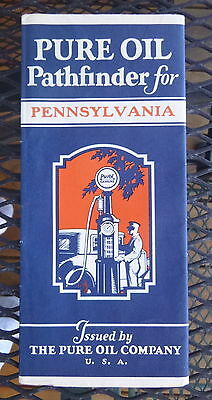 1930 Pennsylvania   road map Pure  oil gas oil