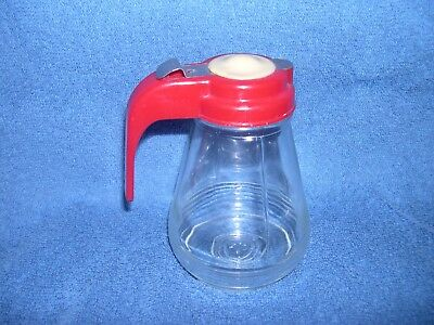 Vintage Antique Glass Small Syrup Dispenser W/ Plastic Lid