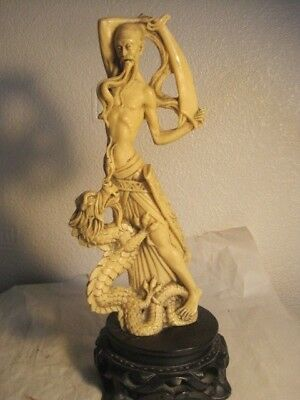 """Impressive Chinese White Resin Statue, A Warrior Fighting A Dragon, 10.75 """""""