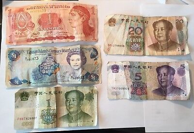 LOT 5 Vintage Foreign Paper Money From Around The World (5) Notes