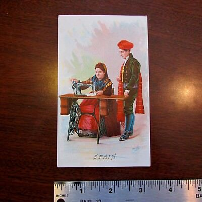 1890s Singer Sewing Machine Spain Barcelona EF Grove York PA Advertising Card