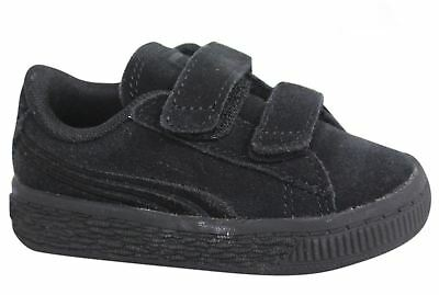 6d4a6b6d385 Puma Suede Classic Badge V Infant Strap Up Black Leather Trainers 362953 01  U22
