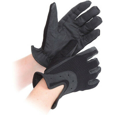 Shires All Day Unisex Gloves Everyday Riding Glove - Black All Sizes