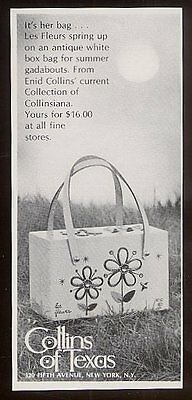 1969 Enid Collins flower purse photo vintage print ad