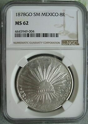 1878 GO SM Mexico 8 Reales NGC MS-62