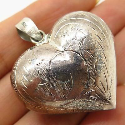 925 Sterling Silver Victorian Style Large Heart Hollow Pendant