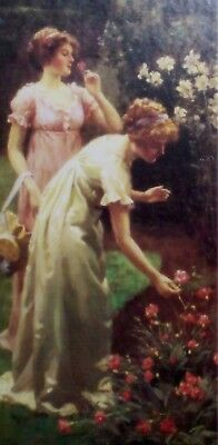 Home Interiors, C Haich-wood Picture Two Victorian Ladies Picking Roses