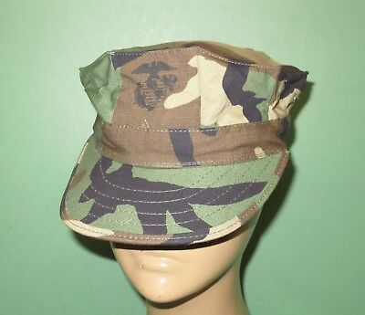 US Military Issue Marine Corps USMC 8 Point Woodland Utility Cover Hat Cap Sz L