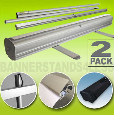 "Retractable Roll Up Banner Stand 33"" x 79'' Free Shipping - 2 PACK"