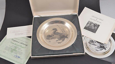 Franklin Mint Solid STERLING SILVER Wood Duck Plate NEW SEALED