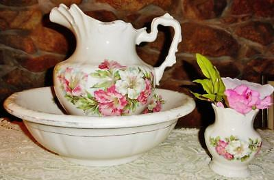 Antique Anchor Pottery Co 3 Piece Chamber Set Bowl Pitcher Toothbrush Holder