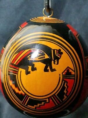 Native American Hand Painted Gourd Ornament Signed