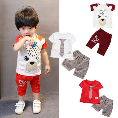 Toddler Kids Baby Boys Outfits Blouse Tops T-shirt+Shorts Pants Gentleman Set