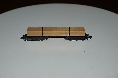 MARKLIN mini club # 8619, Z Scale Model Train Lumber Carrier Freight Car IN BOX