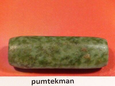 Ancient Pre-Columbian Mesoamerican Green Jade Necklace Tube Bead 33 By 11.5 Mm